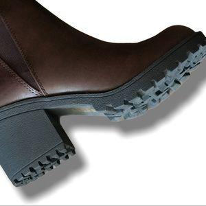 Soda Origami Dark Brown Faux Leather Lug Sole Boot